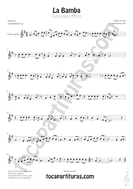 La Bamba Sheet Music for English Horn Music Scores