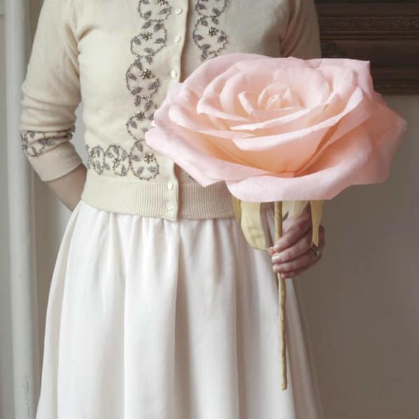 giant-size pink paper rose with long stem