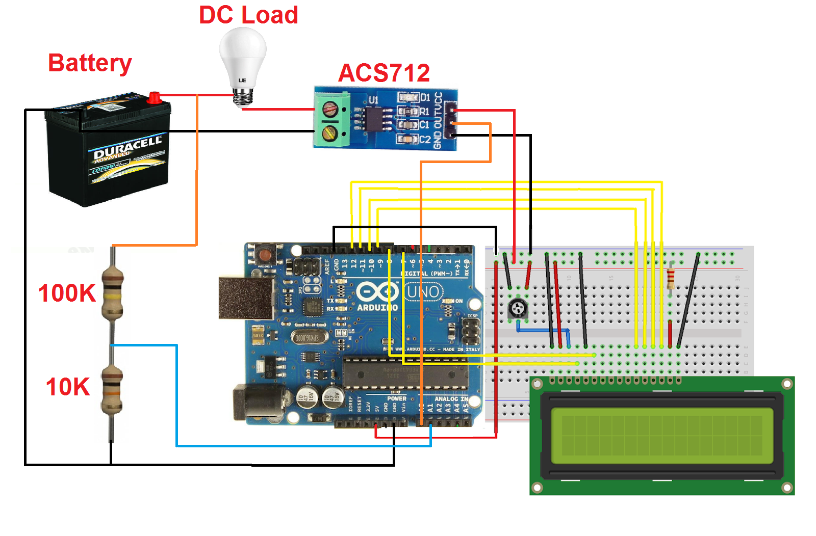 Arduino DC current & voltage meter with LCD ~ Simple Projects