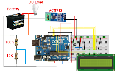 Arduino DC current voltage meter with LCD