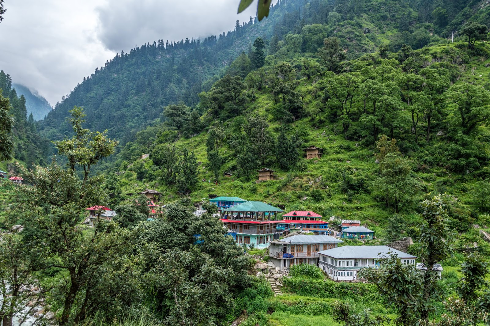 Puccca multistories houses near Singhaad across the river looked beautiful from a distance. en route Srikhnad Mahadev Yatra