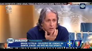 """""""Nunca foi Campeão Brasileiro"""" - Jorge Jesus sobre Renato Gaúcho em entrevista à TV Portuguesa"""