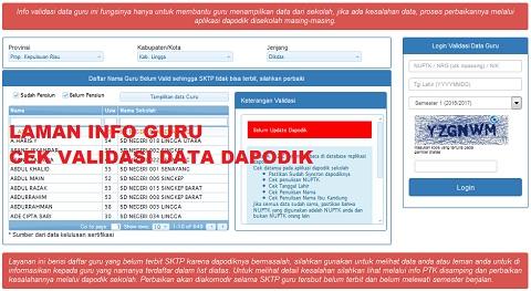 Alamat Link Info GTK/PTK Cek Validasi Data SKTP Guru 2017 SD SMP SMA SMK
