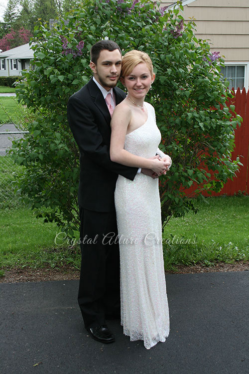 Courtney with her boyfriend all dressed for Prom
