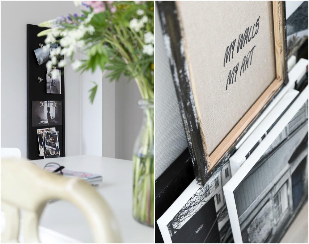 Sisustus, ruokailutila, ruokailu, ruokapöytä, vitriini, valokuvaus, Visualaddict, valokuvaaja, Frida Steiner, interior design, inredning, ruokahuone, työtila, työhuone, nordic design, taulut, magneettitaulu
