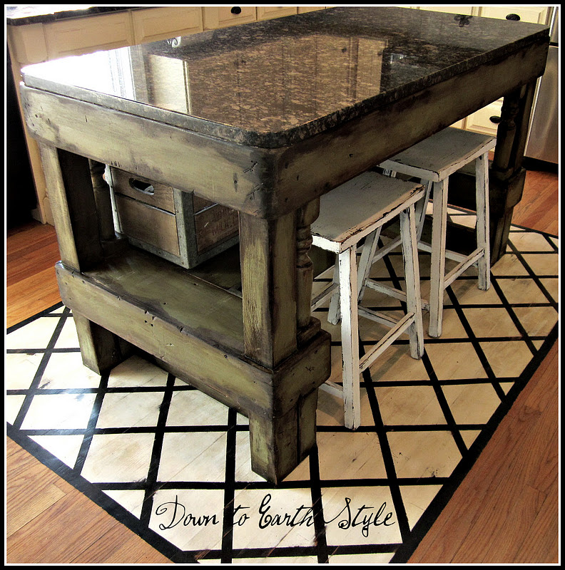 Building Kitchen Island: Down To Earth Style: How To Paint A Rug On Wood Floors