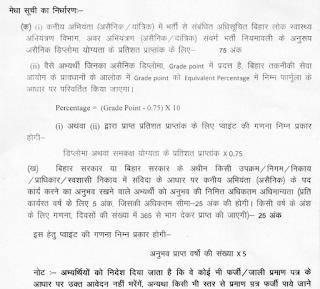 PHED Bihar JE Merit list preparatio method