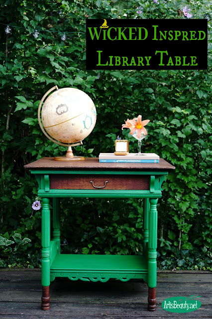 WIcked the musical inspired antique library table makeover using general finishes emerald green