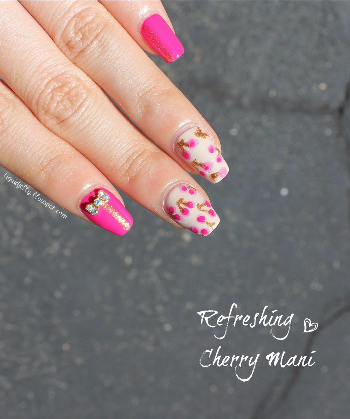 Liquid Jelly: [Nail Art] Refreshing Cherry Mani with BPS Bow Charm