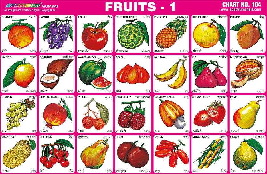 fruit charts: Spectrum educational charts chart 104 fruits 1