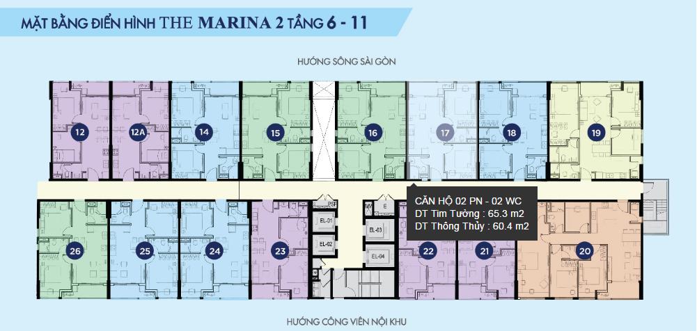 Mặt bằng điển hình The Marina 2 - River City tầng 6 - 11