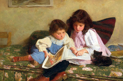 Victorian children reading -  Carlton Alfred Smith