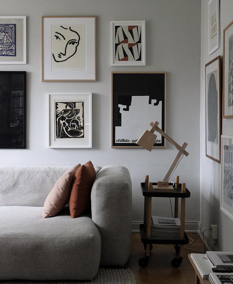 Gallery wall above the sofa by Elin Odnegård