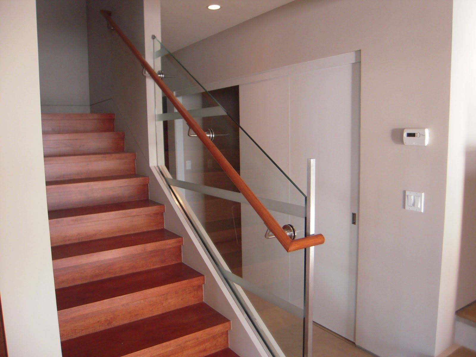 Glass Stair Rail With Glass Mount Railing Hardware • Ot Glass | Glass Balusters For Stairs