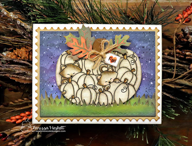 Cats in Pumpkin Card by Larissa Heskett | Newton's Pumpkin Patch Stamp Set by Newton's Nook Designs #newtonsnook