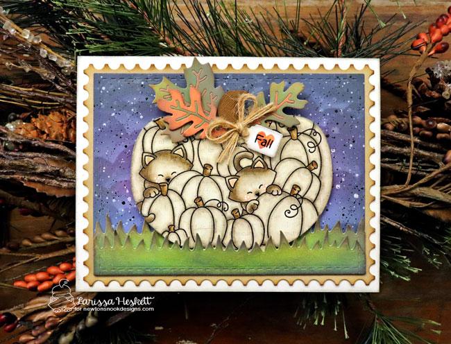 Cats in Pumpkin Card by Larissa Heskett | Newton's Pumpkin Patch Stamp Set by Newton's Nook Designs #newtonsnook
