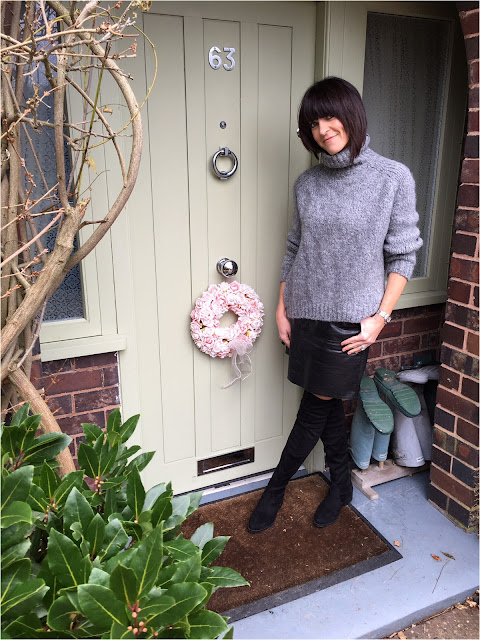 My Midlife Fashion, Zara chunky knit polo neck, faux leather a line skirt, Schuh dash over the knee boots