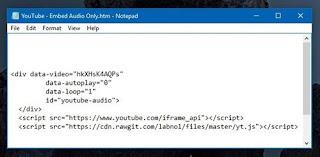 nhúng âm thanh từ video YouTube vào website