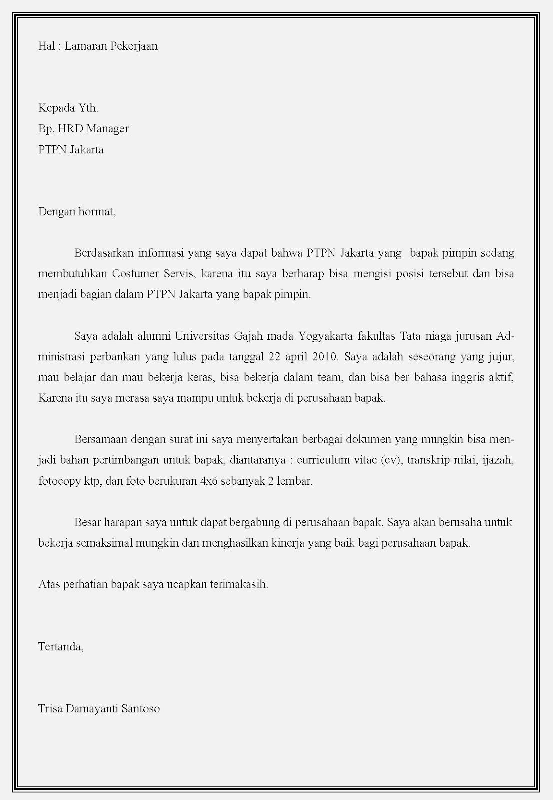 Contoh surat lamaran kerja bumn ptpn