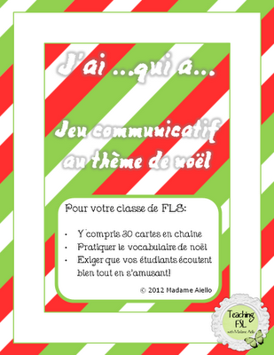 J'ai... qui a... Christmas French activity
