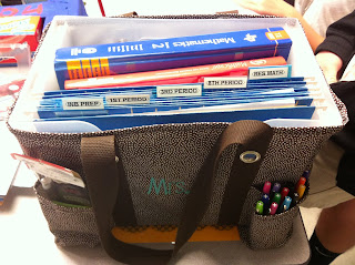 Bags that have files for grading papers, lesson plans, balanced literacy materials.
