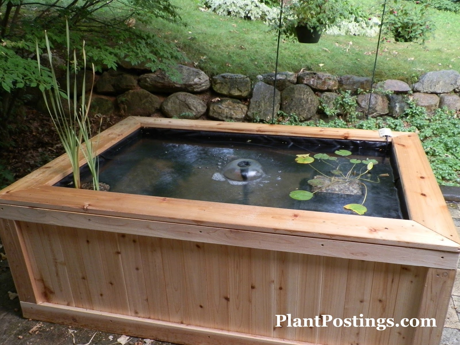Plantpostings how to make an above ground pond for Wooden koi pond construction