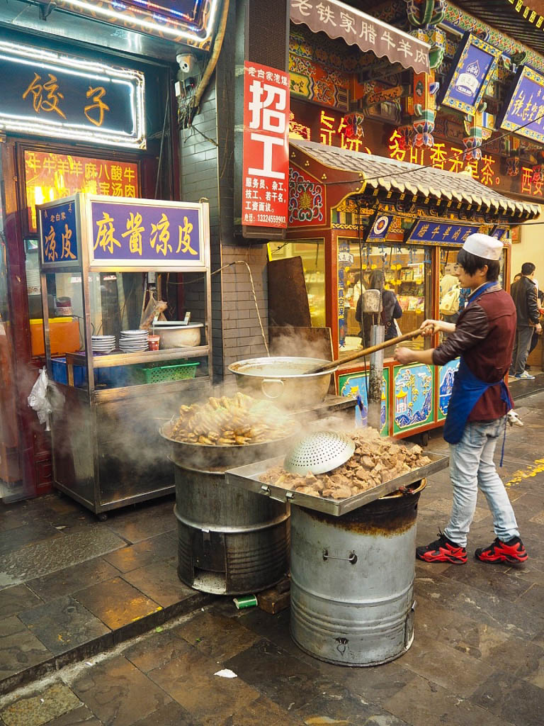 Pigs trotters being cooked at the Muslim Market in Xi'an