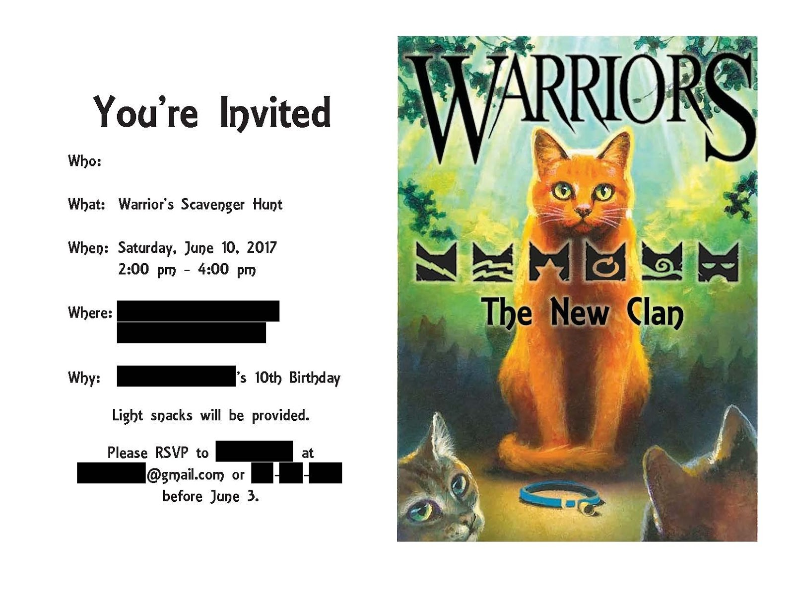 Warrior Cats Birthday Party Invitations
