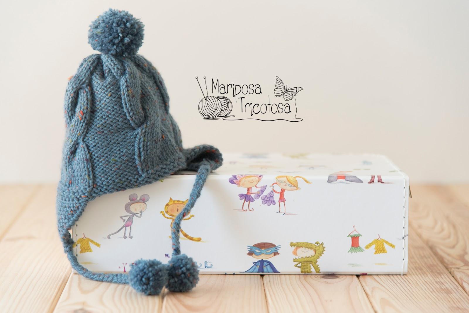 mariposa tricotosa: Tú puedes tejer un gorro con orejeras para tu bebé!