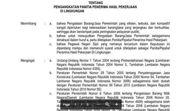 Contoh SK PPHP (Panitia Penerima Hasil Pekerjaan) RKB dan REHAB DOCX