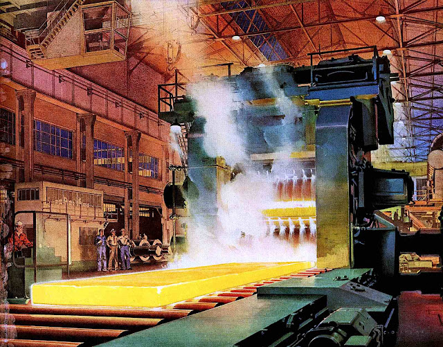 a C.G. Evers color  illustration of steel factory