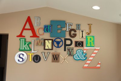 Alphabet wall for playroom, nursery or kids room by Thrive 360 Living
