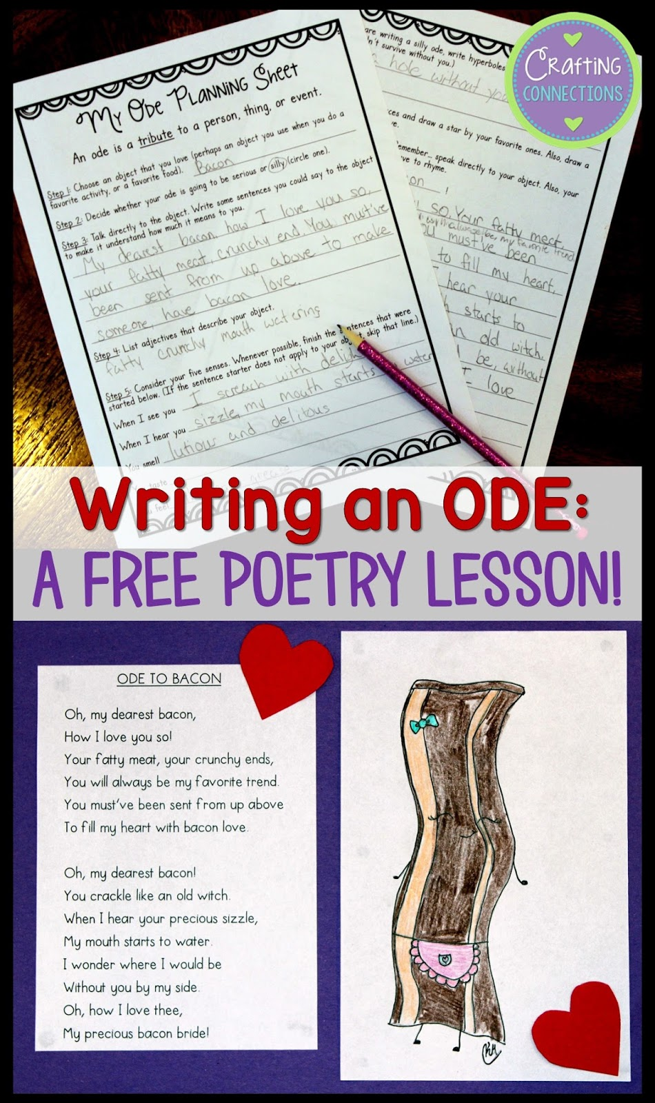 Writing Poetry: A FREE lesson for writing odes!   Crafting Connections [ 1600 x 950 Pixel ]