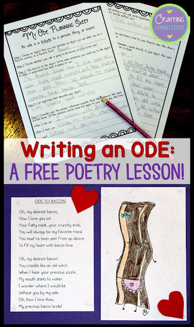 Free poetry lesson for upper elementary and middle school students. Write an ode!