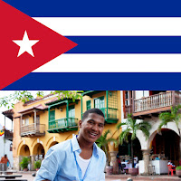 image of cuban flag and a young Cuban man in Havannah smiling at camera