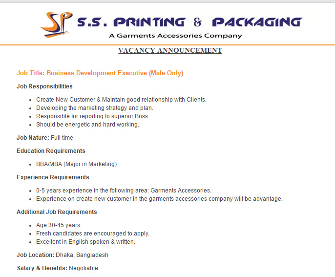 S S Printing Packaging Business Development Executive Job