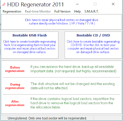 BAD SECTOR DENGAN HDD REGENERATOR