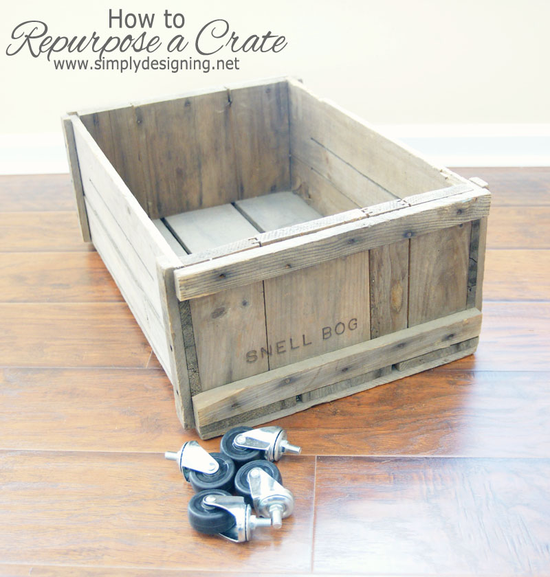 How to Repurpose a Crate | learn how to make a crate into a rolling home storage option - simply | #diy #crate #storage