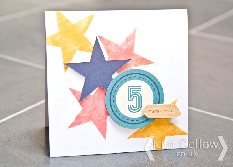A greeting card with stars for a 5 year old