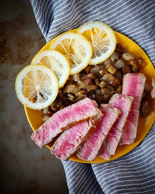 tuna, eggplant, recipe, quick and easy, seafood, domenica marchetti