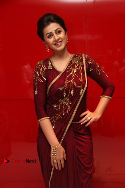 South Indian Actress Nikki Galrani Stills in Red Designer Saree at Maragadha Naanayam Tamil Movie Audio Launch  0010.jpg