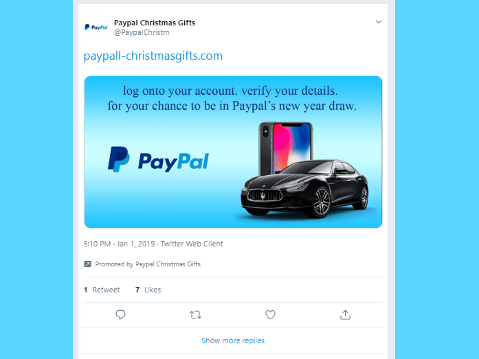 Twitter let hackers use its advertising feature to promote an obvious PayPal phishing scam