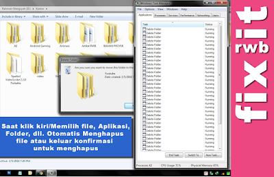 Masalah windows/laptop/netbook/pc yang tiap kali anda mengklik atau memilih file, folder ataupun aplikasi bahkan apapun kegiatan yang anda lakukan secara otomatis akan muncul kota box komfirmasi untuk menghapus file, aplikasi terus menerus yang tidak bisa di close ataupun folder atau mungkin ketika membuka taks manager tiba-tiba muncul konfirmasi untuk menghentikan program/end proses dan sebagainya, anehnya lagi konfirmasi untuk mendelete (Menghapus atau sejenisnya) muncul terus menerus dan tiap kali anda menbatalkan atau close jendela konfirmasi tersebut selalu muncul komfirmasi yang lain. Terus menerus hingga laptop/pc anda  menjadi lambat.