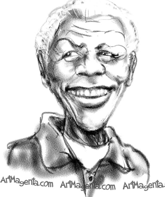 Nelson Mandela  caricature cartoon. Portrait drawing by caricaturist Artmagenta.