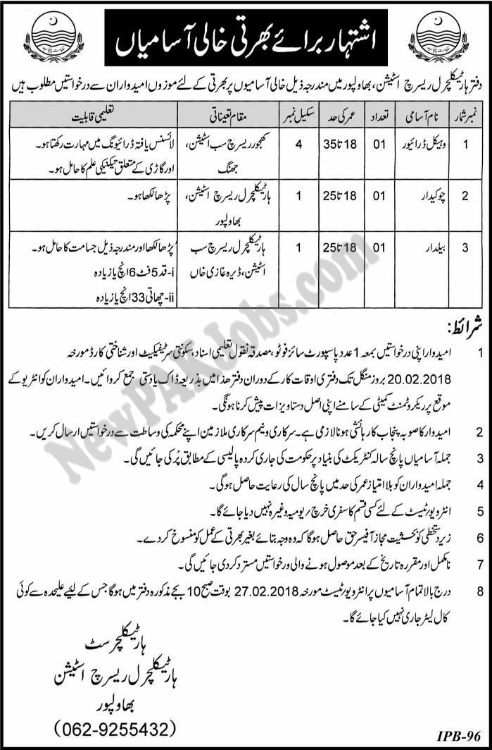 New Govt Jobs in Horticulture Research Station Bahawalpur  Jan 2018
