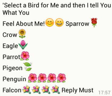 select a bird for me whatsapp games