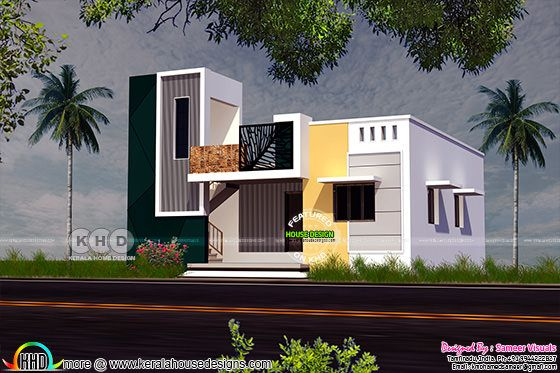 South Indian model single floor house with stair headroom