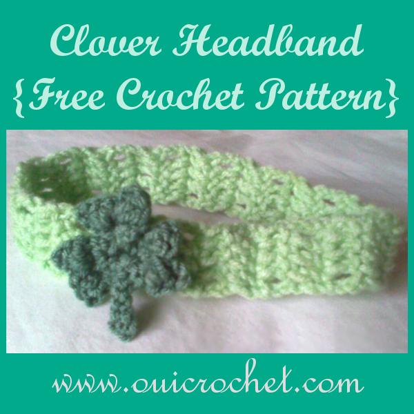 Crochet, Crochet Headband, Free Crochet Pattern, Crochet Clover, Crochet Clover Headband,St. Patrick's Day,