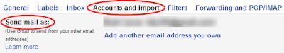 Settings->Accounts->Send mail as