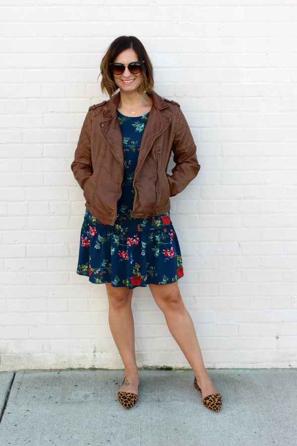 how to pattern mix, moto jacket, fall floral, leopard flats